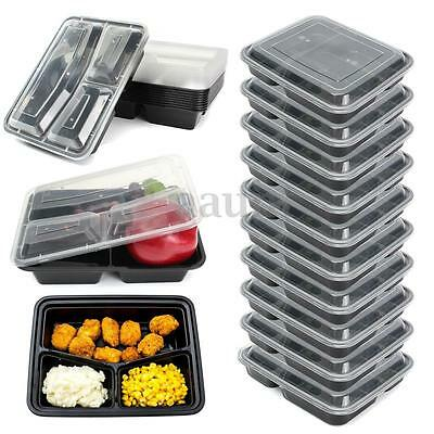 10 Meal Prep Container Food Storage Reusable Microwavable 3 Compartment 1000ml