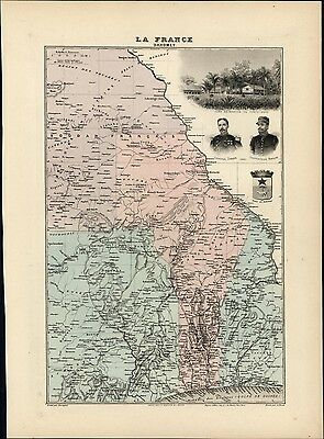 West Africa interior French Dahomey Ashanti Yoruba 1903 decorative antique map