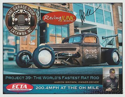 2016 Aaron Brown signed World's Fastest Rat Rod PRI Show Promo postcard