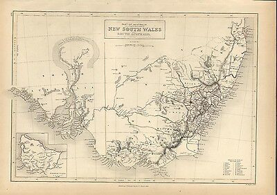 New South Wales Australia Lake Torrens hooked myth 1844 Hughes antique map