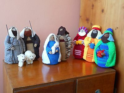 Unusual Nativity Set, hand knitted, 11 characters (10 pieces)