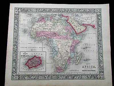 Africa Unknown Interior Dr. Livingston route detailed 1863 Mitchell antique map