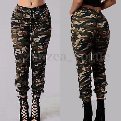AU Women Military High Waist Pockets Camouflage Cargo Combat Long Pants Trousers