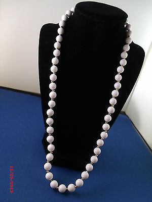 Vintage 24 inch white plastic bead/gold tone spacers  #2
