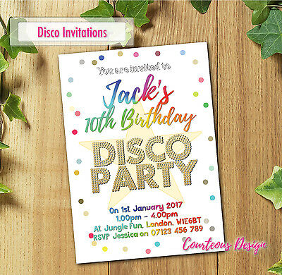 Personalised Birthday Disco Party Invitations Invites for Boy or Girl +Envelopes
