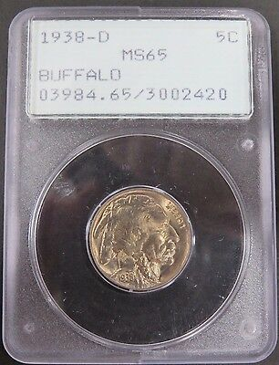 1938-D Buffalo Nickel PCGS Graded MS65 Old Rattler Holder Uncirculated