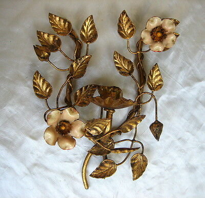 Vintage Italian Tole Gold Gilt Wall Sconce / Candleholder with Flowers