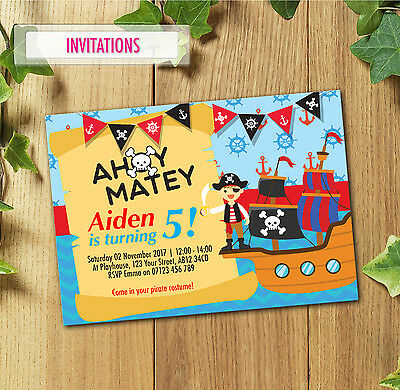 Personalised Pirate Birthday Party Invitations Invites for Boys with Envelopes