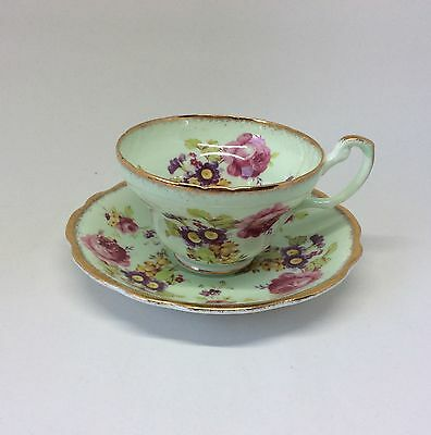 Foley tea cup and saucer bone china, England, green floral 1850 teacup EB