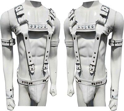 Mens Leather Chest Harness Gay Interest Bondage Clubwear Adjustable With Jock