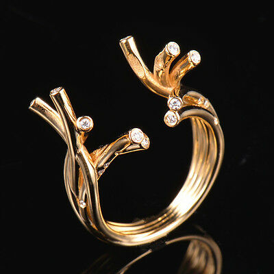 Branch Design Natural Diamond Wedding Ring Settings Pearl Round 12mm in 18K Gold