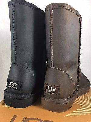 UGG Australia Classic Short Leather Black Brownstone 5 6 Water Resistant 1005093