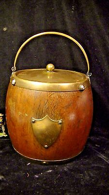 Antique English Oak Biscuit Barrel, w. Brass Fittings