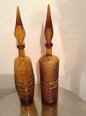 MIDCENTURY Art Glass Decanter Bottles with Stoppers, Circa. 1960-69
