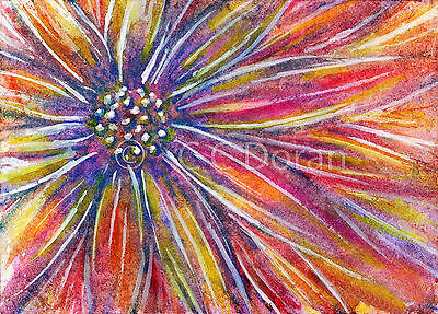 ACEO Ltd.Ed.Print Original Abstract Flowers Floral Garden FW007 Art Painting