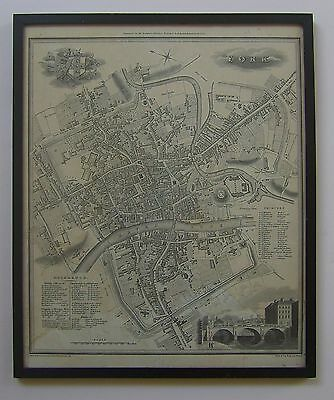 York: antique city plan by Edward Baines, 1822
