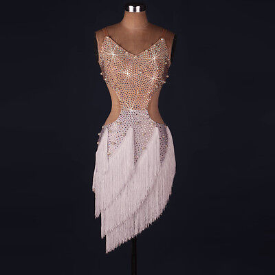 Latin Dance Dress Salsa Tango Cha cha Ballroom Rhinestone Competition Dress 125