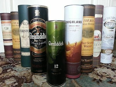 9 various single malt whisky containers, no bottles