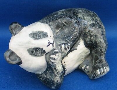 GLAZED POTTERY PANDA LAYING ON HIS SIDE Free post