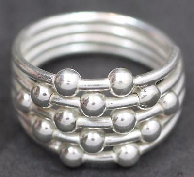 Handmade Solid Sterling Silver 925 Bali Fixed Beaded Wire Ring. Size 6,7,8