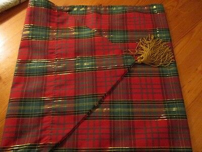 """Vintage Colourful Christmas Holiday Table Runner Red Green and Gold Plaid 67.5""""L"""