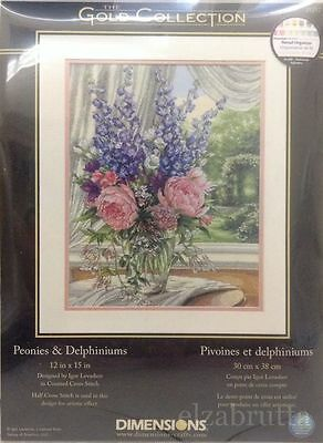 Dimensions Gold Collection 35257 Cross Stitch Kit Peonies And Delphiniums