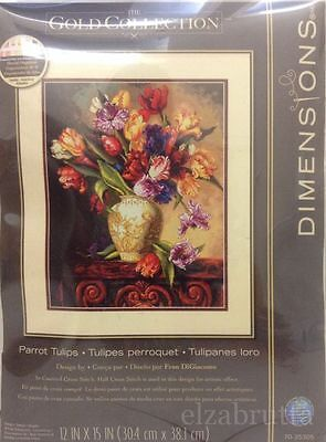 Dimensions Gold Collection 35305 Cross Stitch Kit Parrot Tulips Punto Croce