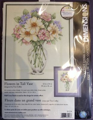 Dimensions Cross Stitch Kit 35228 Flowers In Tall Vase Punto Croce