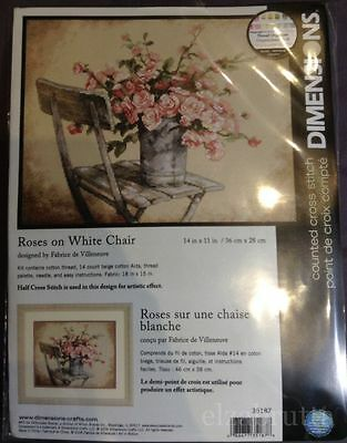 Dimensions Cross Stitch Kit 35187 Roses On The White Chair Punto Croce
