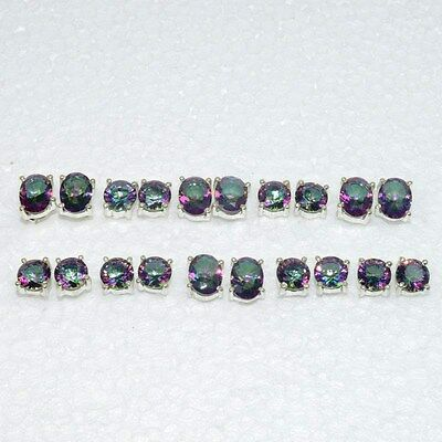 925 Solid Sterling Silver Wholesale 10Pair Faceted Mystic Topaz Stud Earring Lot