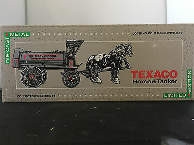 ERTL TEXACO OIL HORSE AND TANKER BANK LTD EDITION # 8 NEW IN BOX with Key