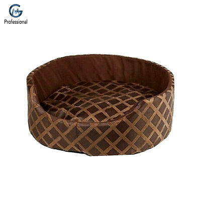 SMALL Round Soft Comfy Fabric & Foam Washable Dog Pet Cat Warm Basket Bed BROWN
