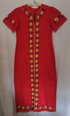 Vintage 70s Boho Hippie Festival Embroidered Yellow Flowers Red Maxi Dress~S