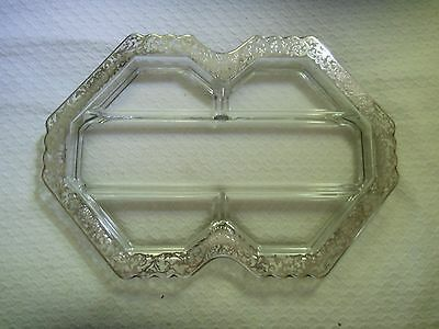 Beautiful & Unusual Silver Overlay Divided Glass Dish