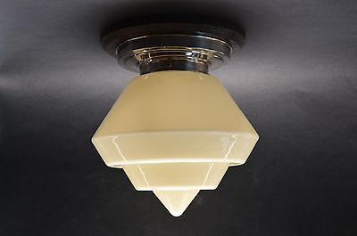 CZECH ART DECO 30's Beige Glass CEILING LIGHT LAMP Fixture Geometrical Shade
