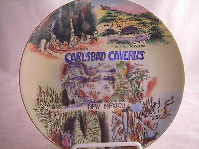 """New Mexico Carlsbad Caverns Souvenir State  Plate Vintage 8 1/8"""" Hand Painted"""