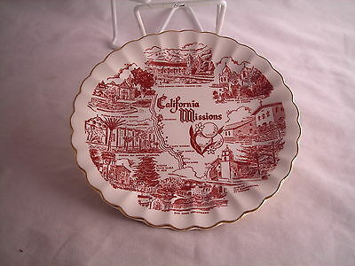 """California Mission Souvenir State  Plate Vintage 7 1/4"""" Red"""