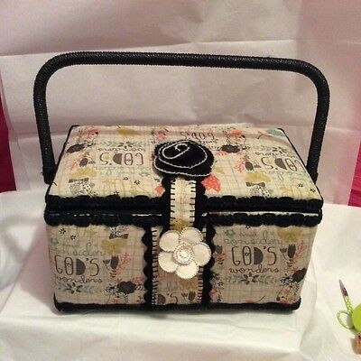 sewing box. Inspirational Christian remade by hand
