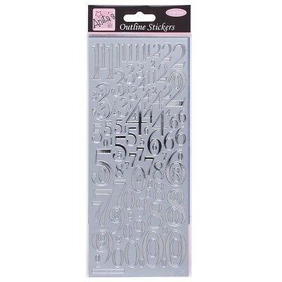Anita's Peel Offs Outline Silver Mixed Numbers Stickers Cards | ANT 8101013 | A3