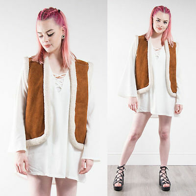 Womens Vintage Brown Suede Waistcoat Gilet Hippie Faux Shearling Lined Warm 10