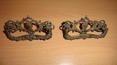"LOT of 2 Set of 2 Drawer Pulls Cabinet Handles Brass Patina Vintage 3"" 3 Inch"