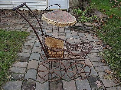 Antique Baby Doll Carriage Stroller with umbrella cover Vintage Collectable