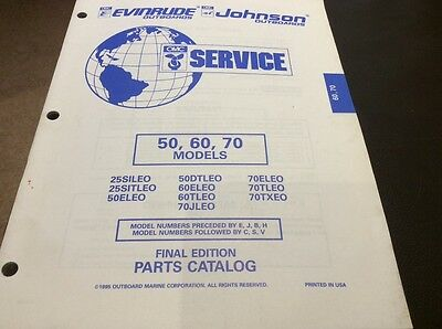 Evinrude Johnson outboards 1995 parts book - 50, 60 and 70 hp models
