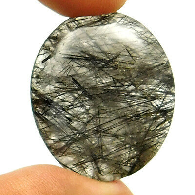 37.20 cts Natural Black Needle Rutilated Quartz Gemstone Oval Loose Cabochon