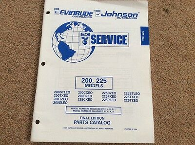 Evinrude Johnson outboards 1995 parts book -  200 & 225 HP models