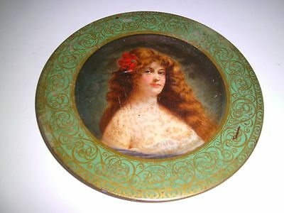 """1905 lovely lady green background H.D. Beach Co. Vienna Art Plates 10"""" tin tray"""