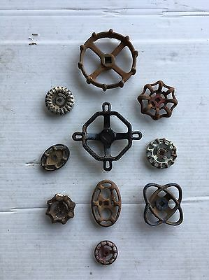 10 Vintage/antique Valve Handles Water Faucet Knobs Steampunk Industrial Art#726