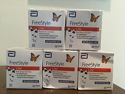 FreeStyle Lite Test Strips   5 boxes / 250 total strips    FREE SHIPPING!!!