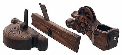 Three Fancy Carved Woodworking Tools - Sumitsobo, Carved Router, Plane