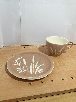 Vintage Harmony House Cattail Coffee Cup & Plate